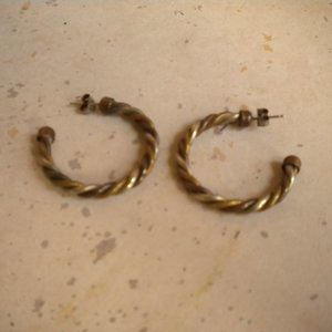 Vintage SteamPunk Twisted Tri-Color Earrings